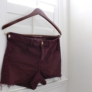American Eagle High waisted maroon shorts